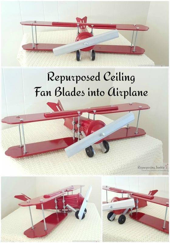 25 Recycled junk built into decorative airplane, by Repurposing Junkie featured on @Remodelaholic