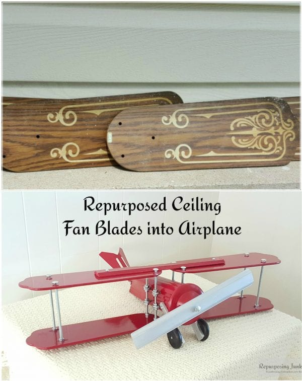 26 Upcycled old ceiling fan blades repurposed into decorative airplane, by Repurposing Junkie featured on @Remodelaholic