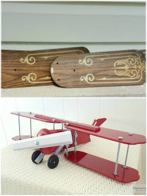 27 Recycle old ceiling fan blades into decorative airplane, by Repurposing Junkie featured on @Remodelaholic