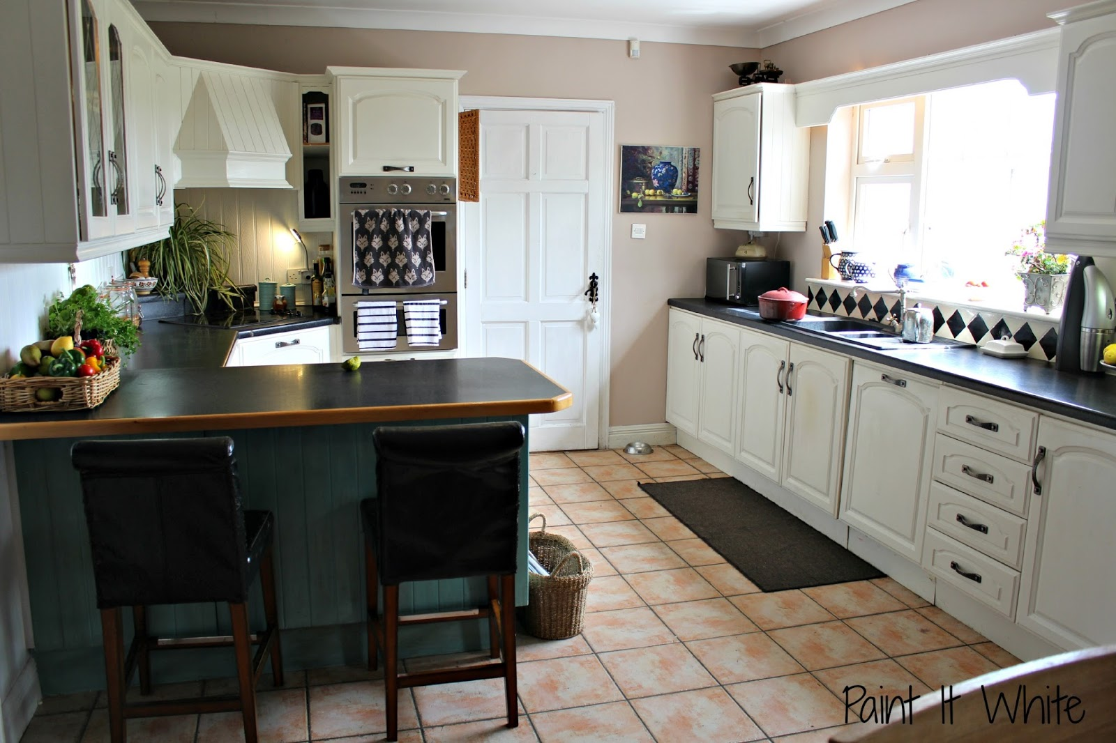 Kitchen cabinets painted dark grey - The Peninsula Is Annie Sloan Provence With Dark Wax But I Am Changing It To A Dark Grey Like The French Doors And I Would Love Liscannor Slate Tiles For The