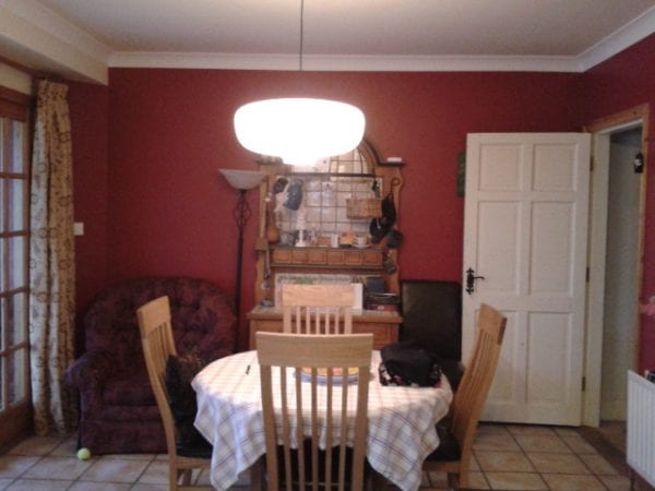 4 red wall painted to white, Parisian Cream by Dulux, dining room update, Paint it White featured on @Remodelaholic