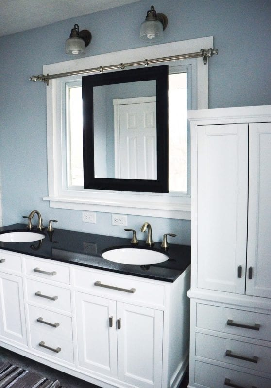 Bathroom Mirrors Over Windows remodelaholic | master bathroom renovation with sliding mirror