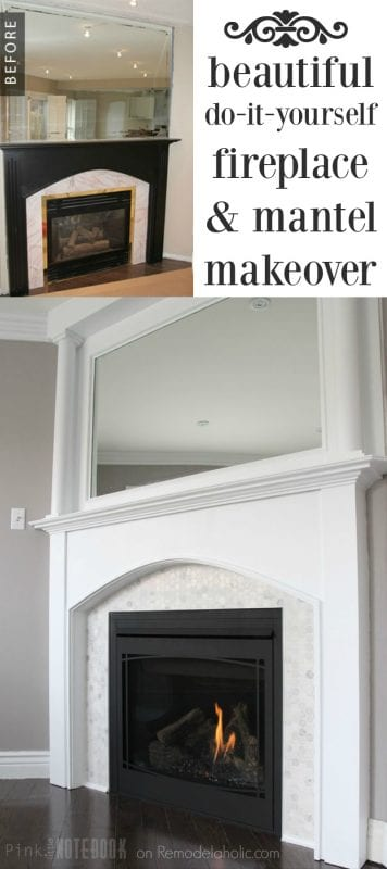 This tiled fireplace makeover is AMAZING! Beautiful marble hexagon tile, plus using wood filler to fill in the grooves to make the mantel more modern! And the DIY mantel pillars are brilliant, and so simple