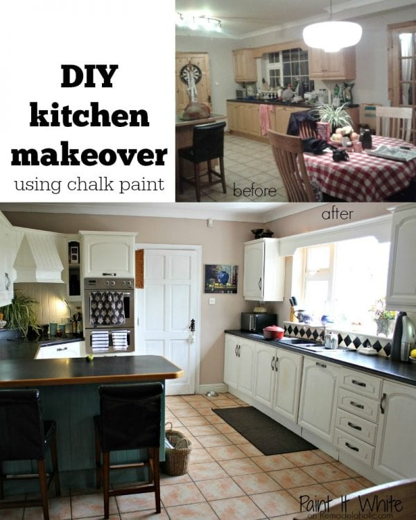 Chalk Paint Kitchen Cabinet Makeover -- saves the prep time on sanding!