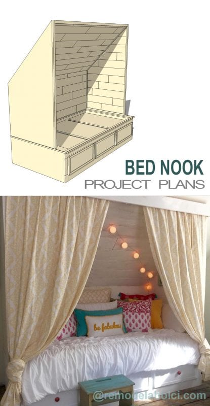 Remodelaholic Beautiful Built In Bed Nook With Storage