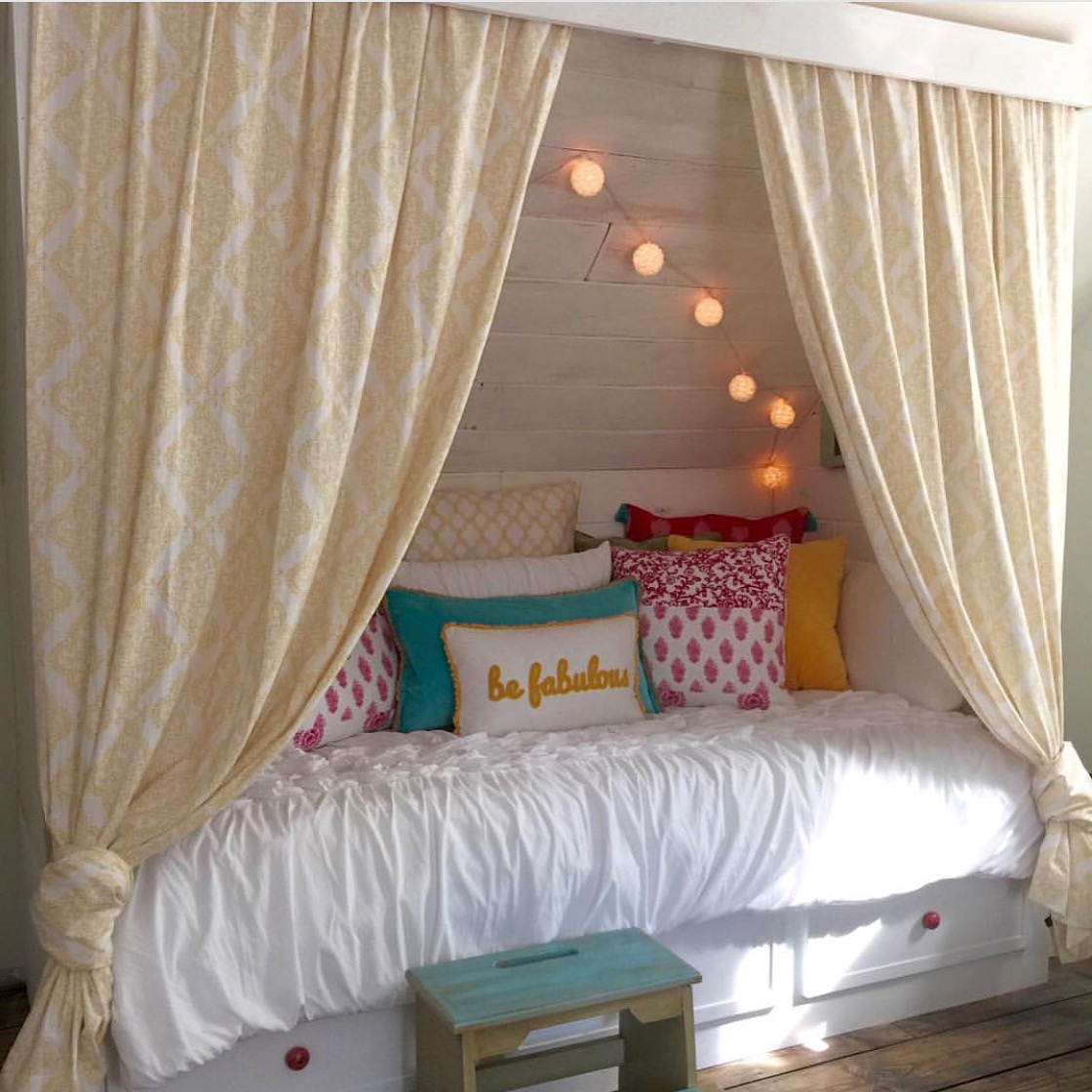 Remodelaholic beautiful built in bed nook with storage for Bed nook ideas