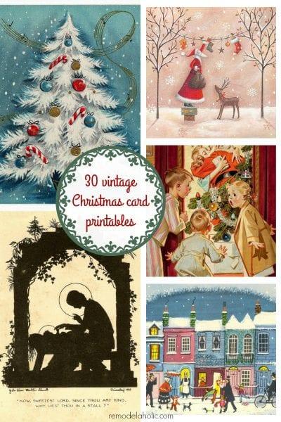 Free Vintage Christmas Card Printable Images @Remodelaholic