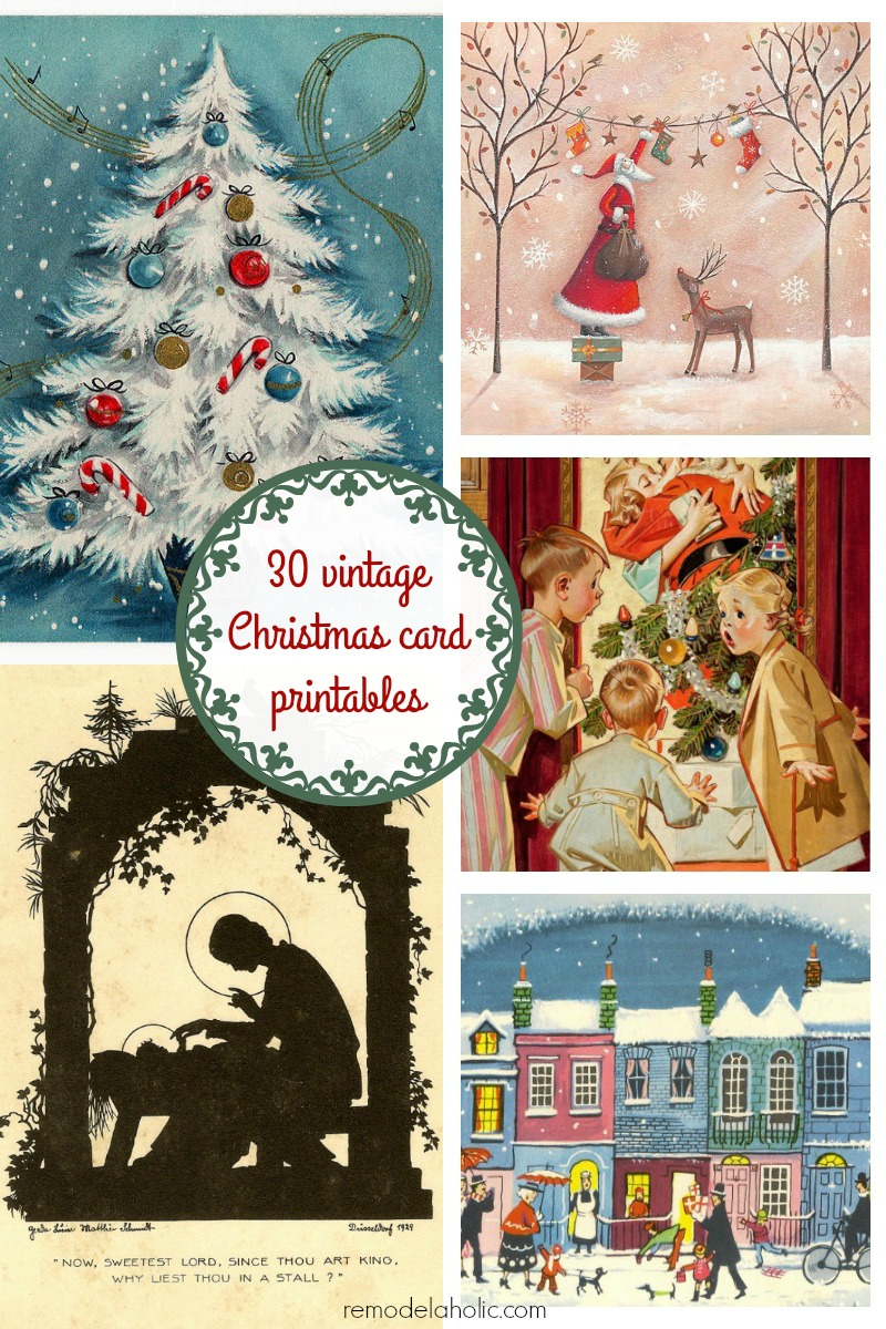 free vintage christmas card printable images frame these or make them into a garland - Cheap Christmas Photo Cards
