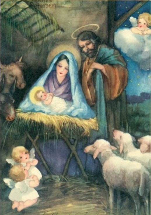 vintage nativity art for Christmas