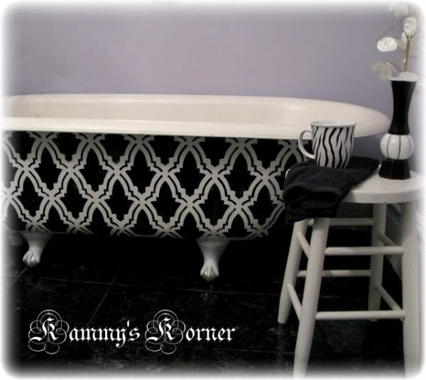 Kammy's Korner painted claw foot bath tub