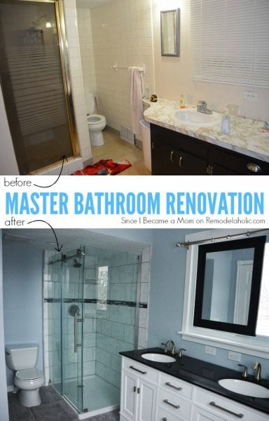 Master Bathroom Renovation in black and white with porcelain tile and a sliding mirror over the window @Remodelaholic