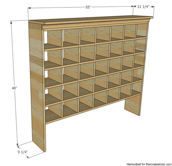 DIY Shoe Cubby Overall Dimensions