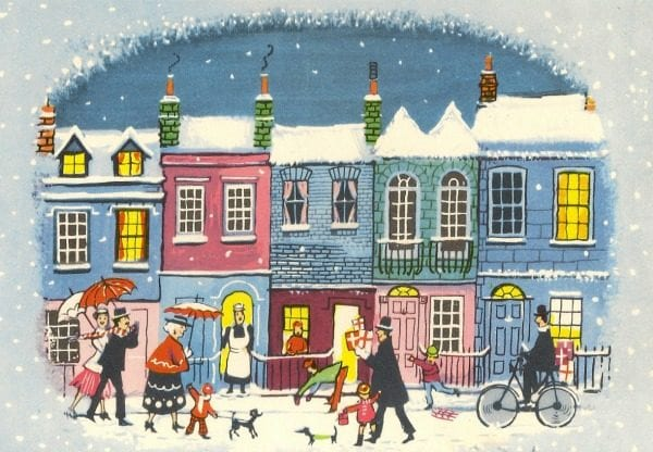 quaint and colorful vintage town Christmas card art via Annie Spratt on Remodelaholic