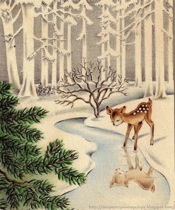 vintage winter Christmas card via Very Merry Vintage Style on Remodelaholic