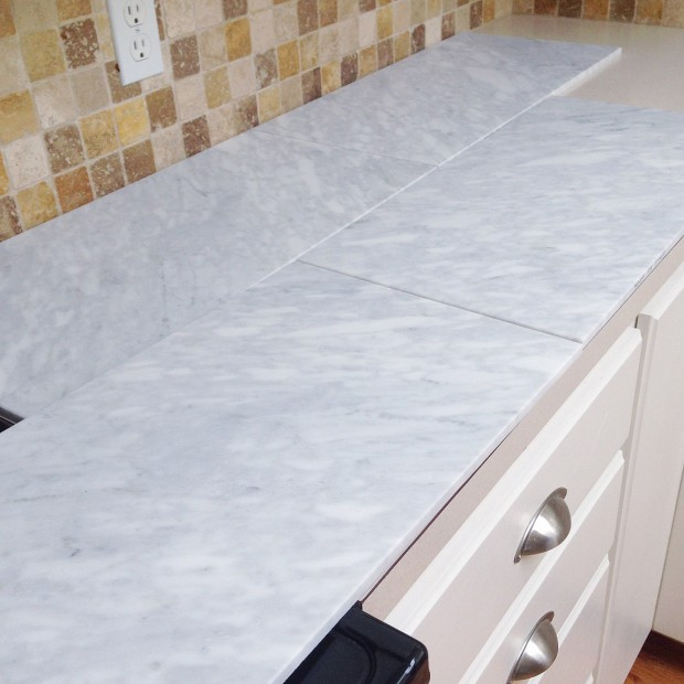 Countertop Edge Options For Tile : ... Affordable Tiled DIY Marble Countertops and Aged Copper Light Fixture