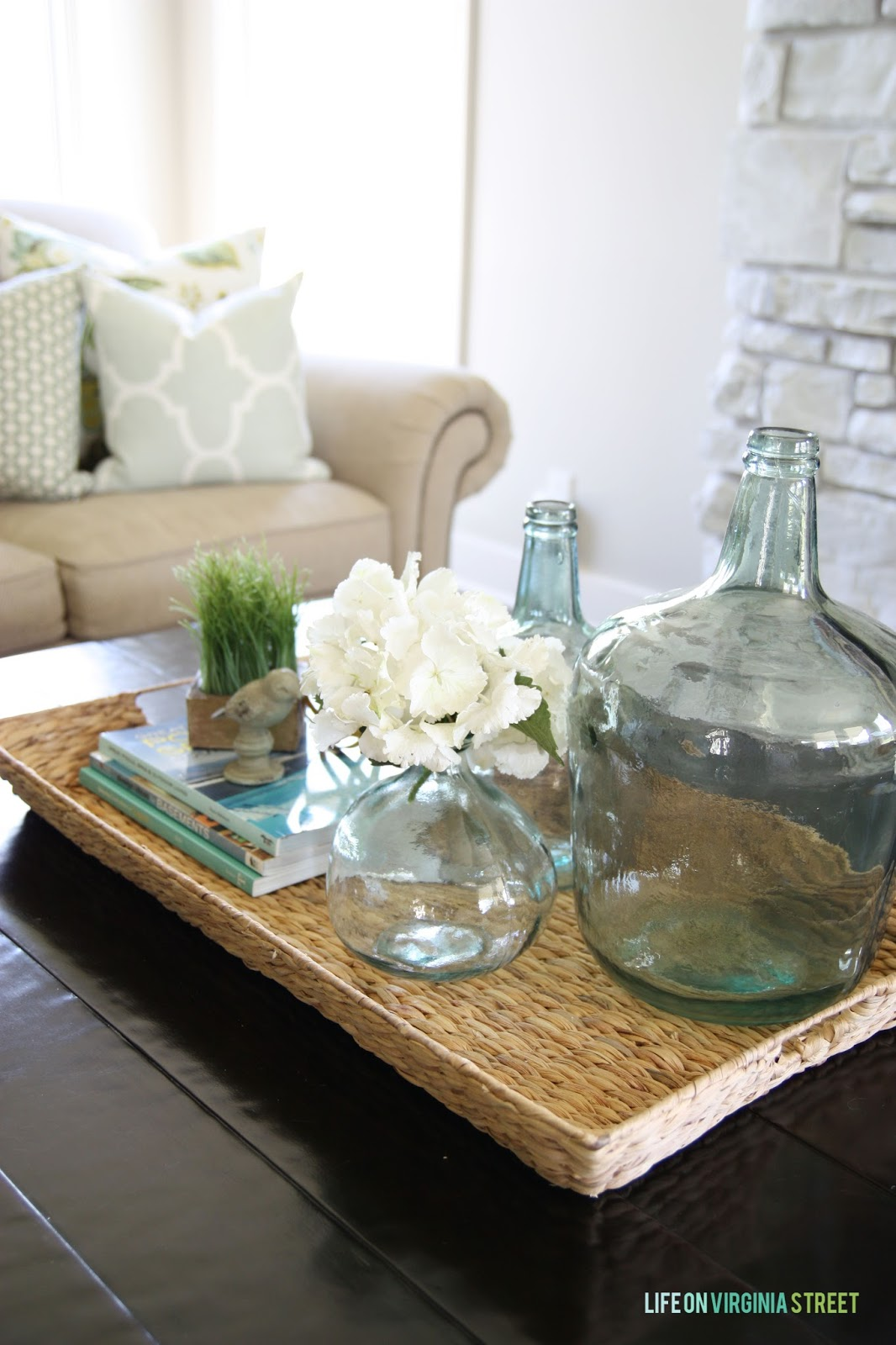 beautiful living room and coffee table and tray Life on Virginia Street - Remodelaholic Why You Should Use Trays In Your Home Decor