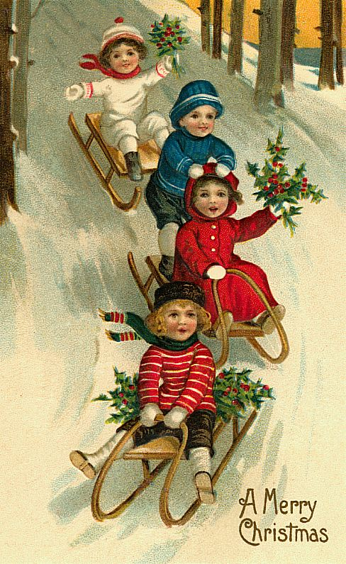 children sledding; printable vintage Christmas cards and images via House of Hawthornes on Remodelaholic