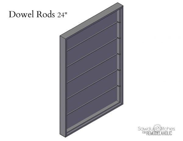 chalkboard organizer Dowel Rods by sawdust2stitches for Remodelaholic.com