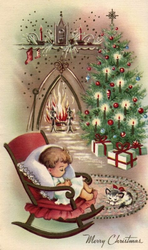 printable vintage Christmas cards and images via Vintage Holidays on Remodelaholic