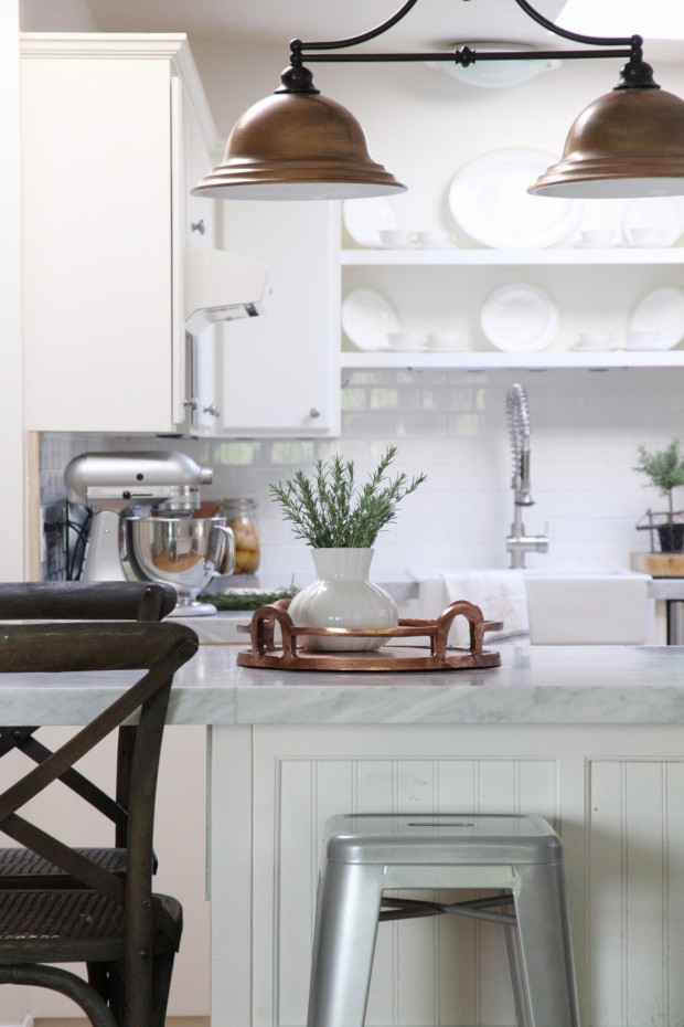 Gorgeous White Kitchen With Copper Accents And Marble Countertops Tile