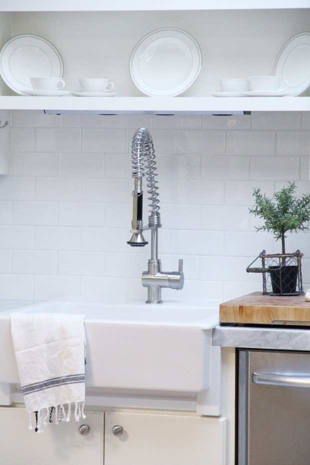 Kitchen Makeover With Subway Tile Backsplash And Marble Countertops     Without Removing The Old Countertops