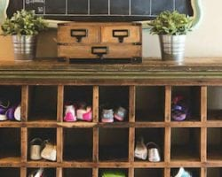 feat vintage mail sorter turned shoe cubby, Sincerely Sara D on @Remodelaholic