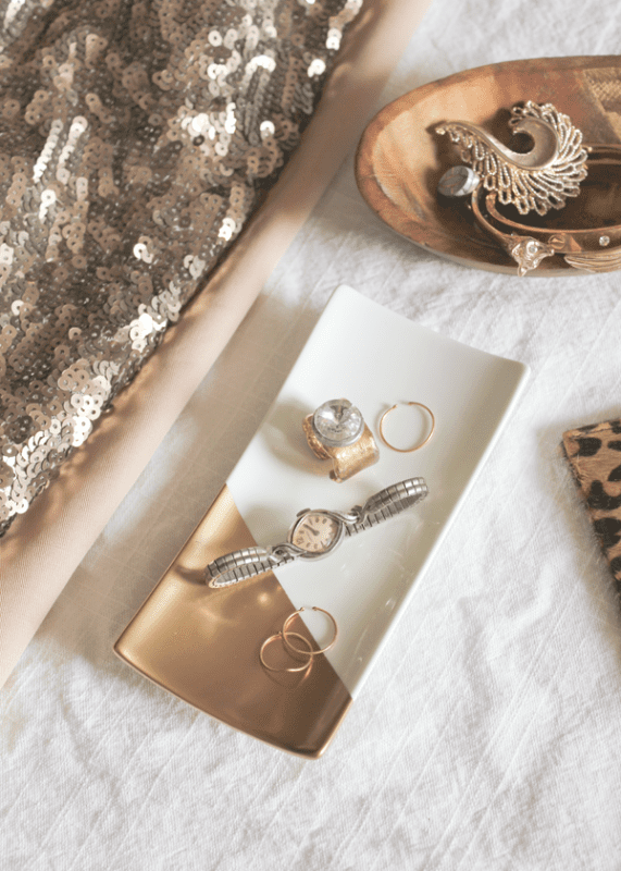 gold-dipped jewelry trays diy A Fabulous Fete