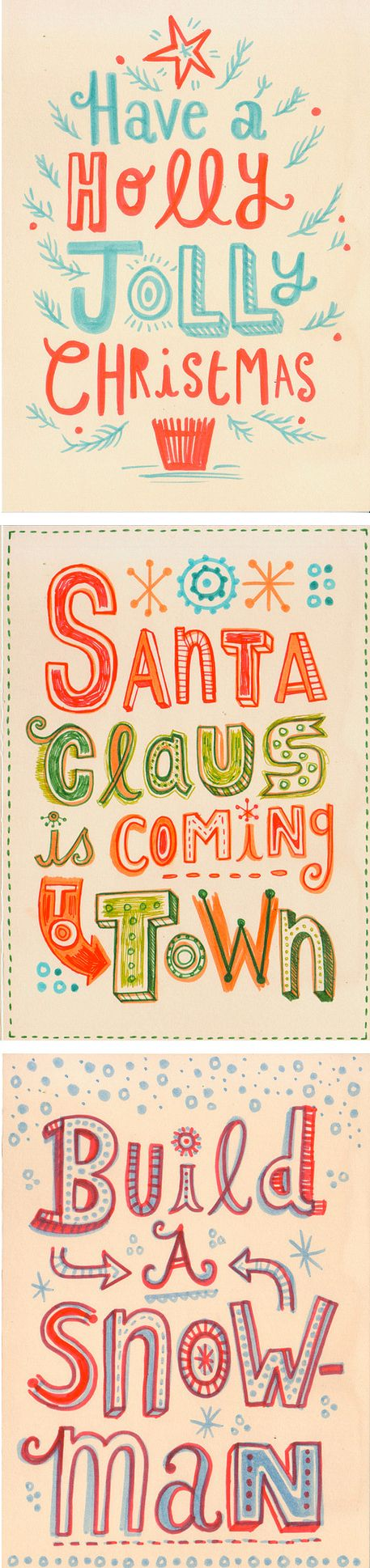 hand lettered Christmas cards or posters