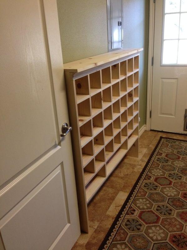 remodelaholic build a vintage mail sorter shoe cubby. Black Bedroom Furniture Sets. Home Design Ideas