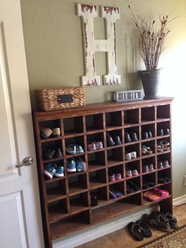 Remodelaholic Build A Vintage Mail Sorter Shoe Cubby