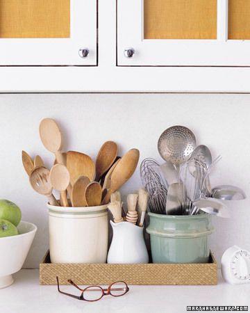 kitchen crocks for utensils organized in a tray, Martha Stewart
