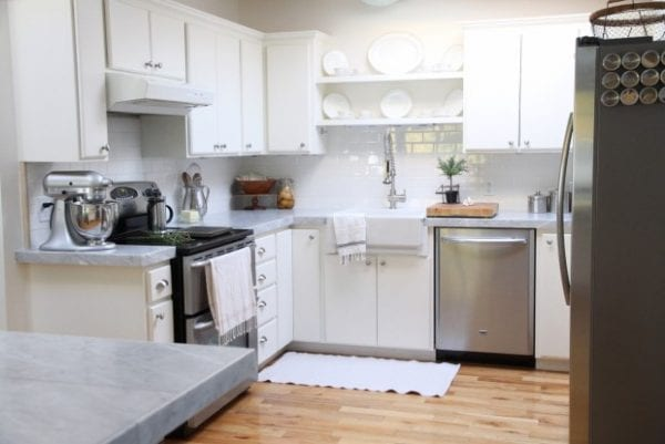 Remodelaholic Kitchen Mini Makeover With Affordable Tiled DIY Marble Counte
