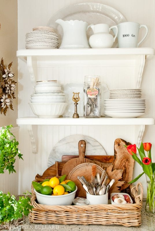 kitchen tray with cutting boards and silverware Heather Bullard