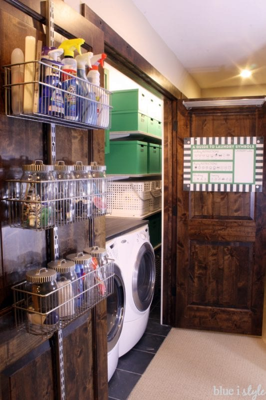 organized small laundry room BlueIStyleBlog