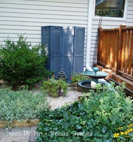 outdoor repurpose vinyl shutters hide outdoor eyesores water meter