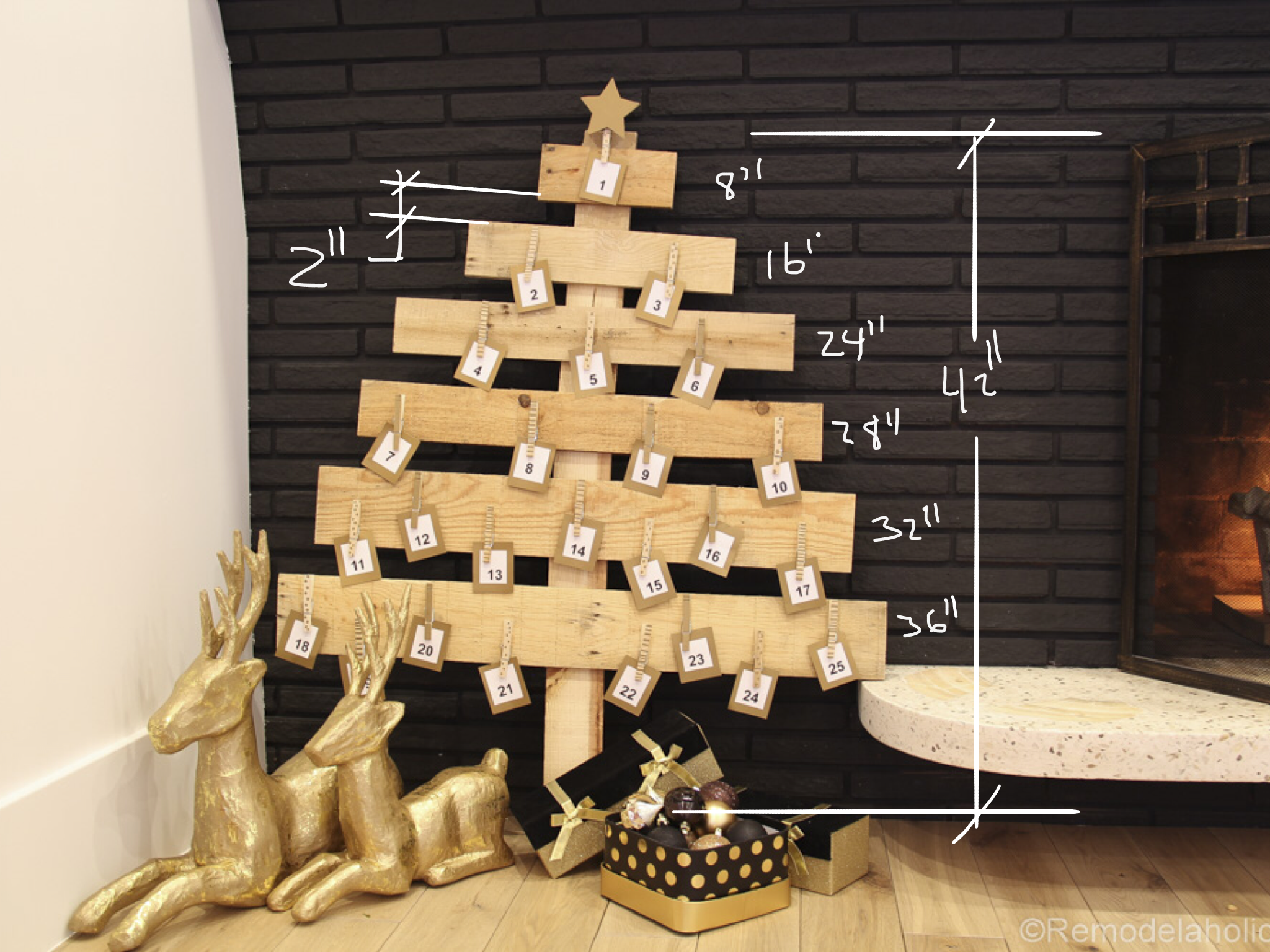 pallet wood christmas advent calendar dimensions - Wooden Christmas Advent Calendar