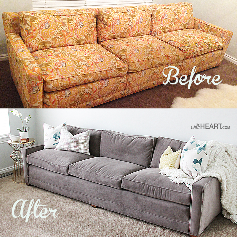 Remodelaholic 28 ways to bring new life to an old sofa Reupholster loveseat