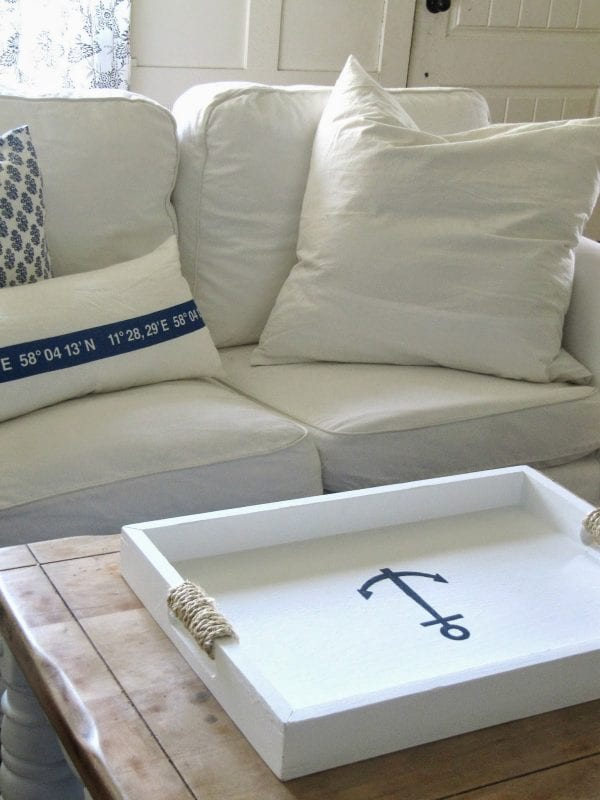 rope-wrapped handles on a nautical beach tray The Wicker House