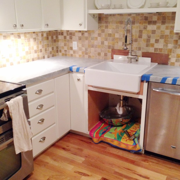 Kitchen Mini-Makeover With Affordable Tiled DIY Marble Countertops And Aged