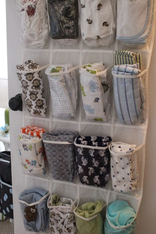 Exceptionnel Store Baby Blankets And/or Burp Cloths In A Shoe Organizer On The Back Of