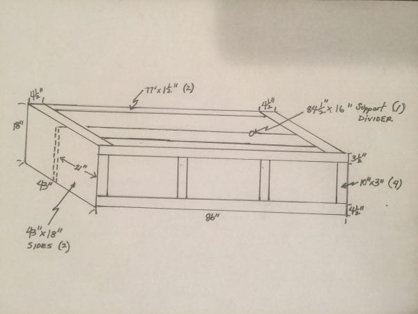sketched dimensions for DIY bed nook