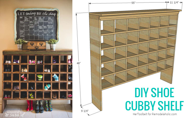 Tall Narrow Diy Shoe Cubby Shelf Woodworking Plans, Remodelaholic