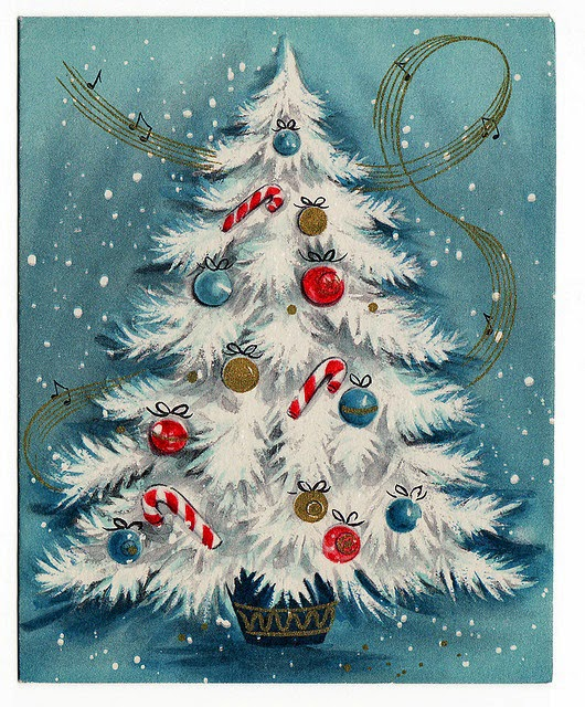 Classic vintage white Christmas tree! Free printable image on The Last Door Down the Hall featured on Remodelaholic