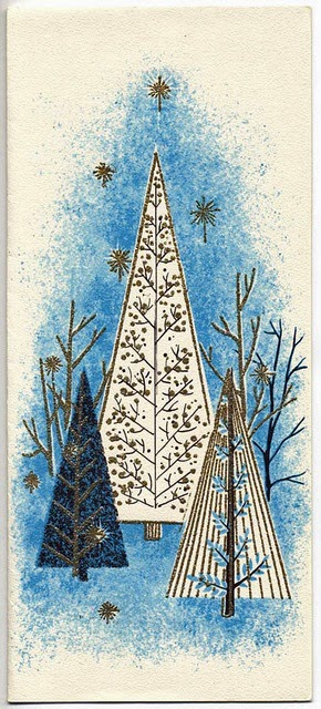 vintage mid-century Christmas tree images via The Last Door Down the Hall on Remodelaholic