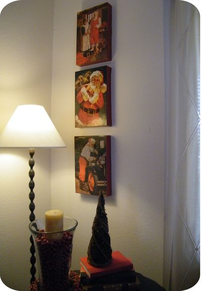 use vintage santa pictures to create wall art canvases