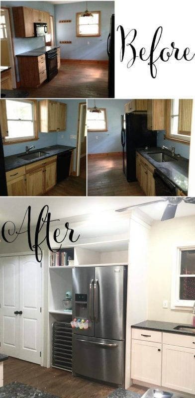 white kitchen makeover before and after, Bridgette on @Remodelaholic