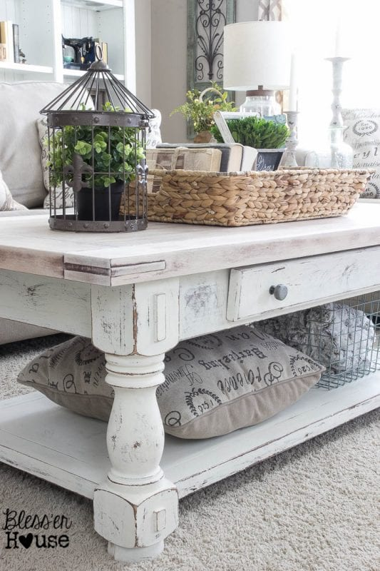 wicker basket to corral items on a coffee table, adds a nice texture BlesserHouse