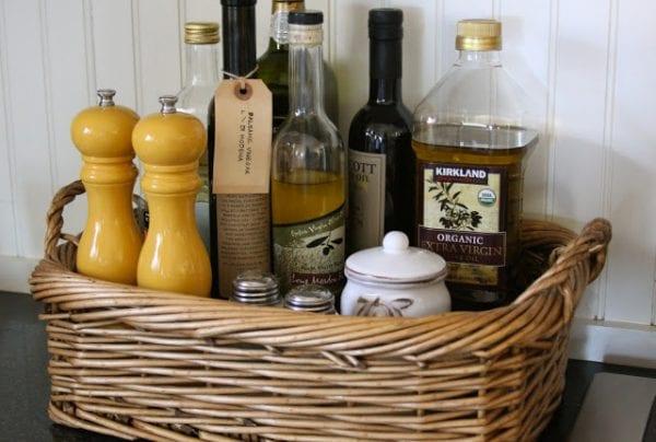 wicker tray to organize kitchen essentials Homestead Revival