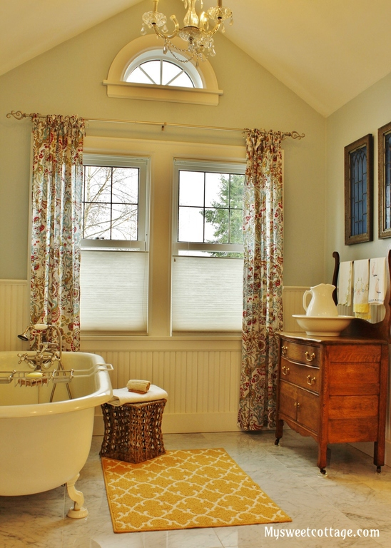 Beautiful master bathroom in a classic 1920's cottage. They added a dormer to turn this closet turned tiny half bath into the real deal and it is GORGEOUS!