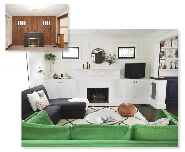 Amazing living room renovation with built-in bookshelves around the fireplace and mantel. A nice balance of modern style and color!